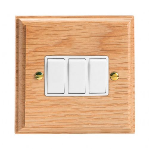 Varilight XK3OW Kilnwood Oak 3 Gang 10A 1 or 2 Way Rocker Light Switch